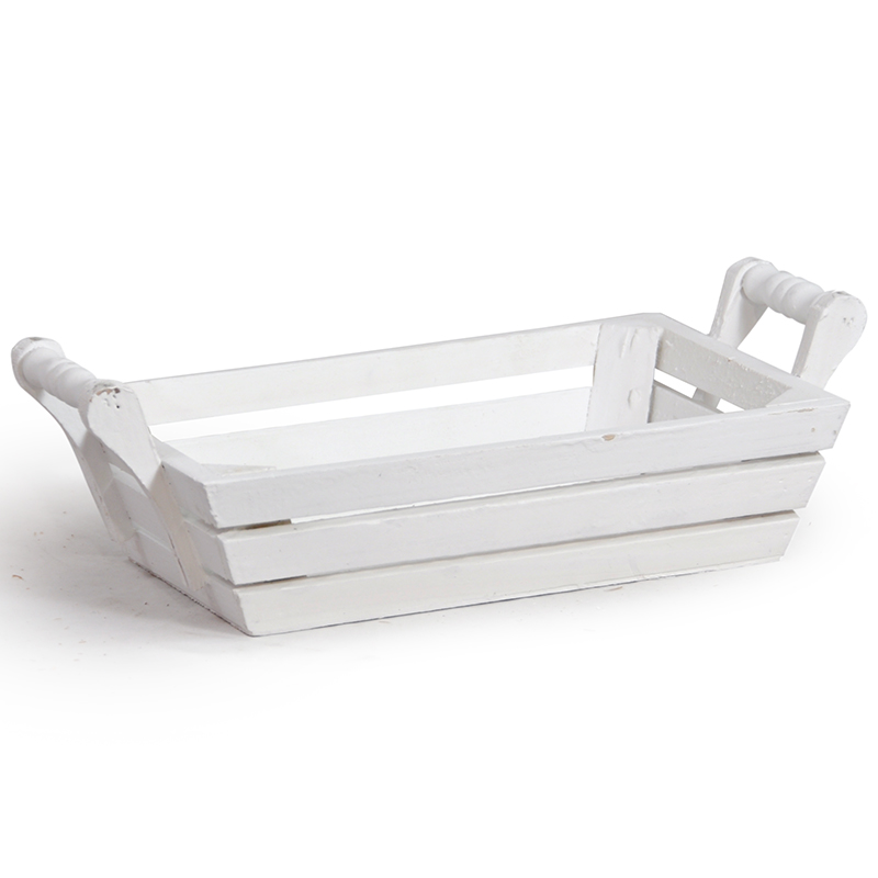 White Rectangular Wood Tray with Side Handles - Small 9in