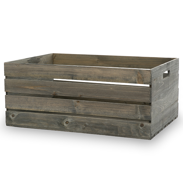 Antique Grey Wooden Storage Crate with In-Handles - XXL 21in