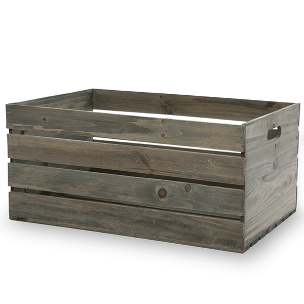 Antique Grey Wooden Storage Crate With In Handles Extra