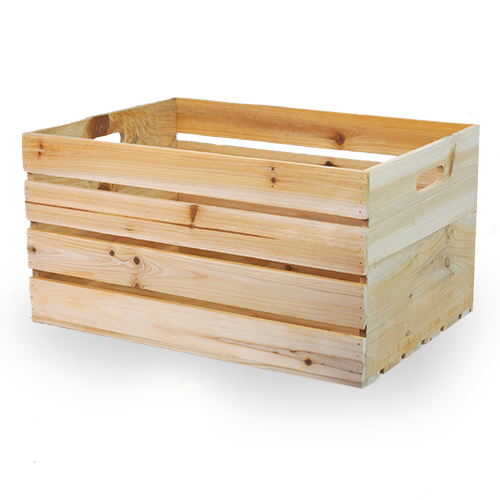 natural wooden storage crate with in handles large the