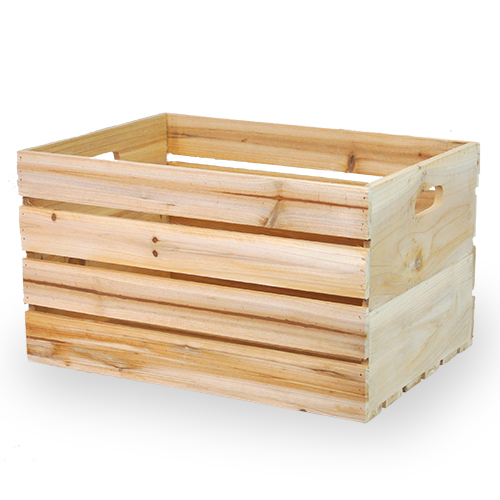 Natural Wooden Storage Crate with In-Handles - Medium 15in