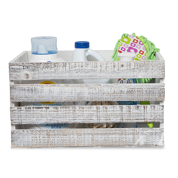 Wooden Storage Crate with In-Handles - Worn White Med 15in