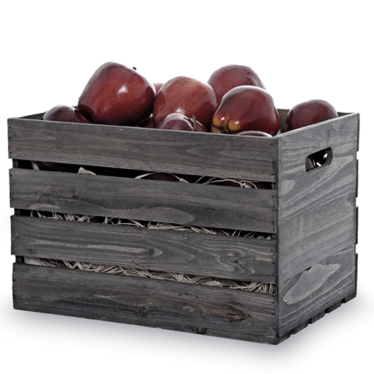 Antique Grey Wooden Storage Crate with In-Handles - Small 13in