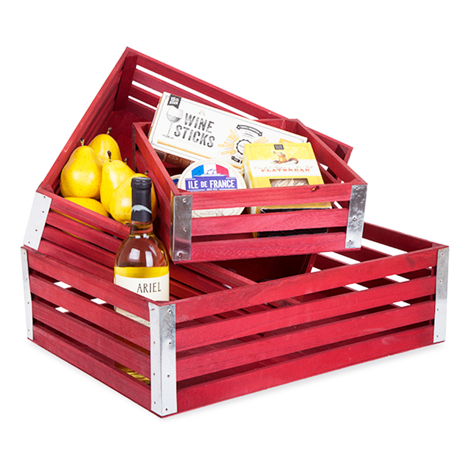 Four Slat Wood Crate Set Of Three Farmhouse Red The Lucky Clover