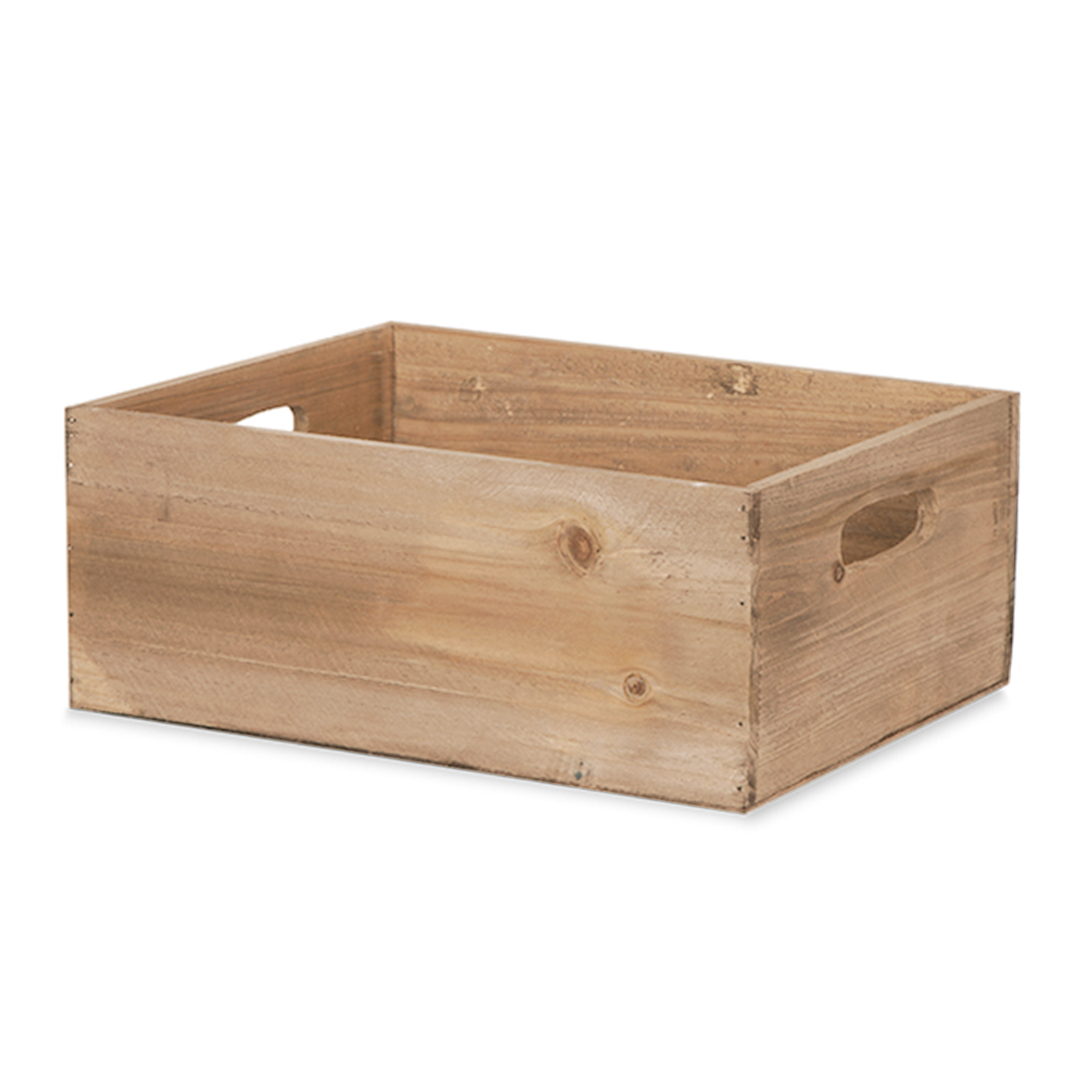 Rect Wood Crate with Cutout Handles -  Brown 11in