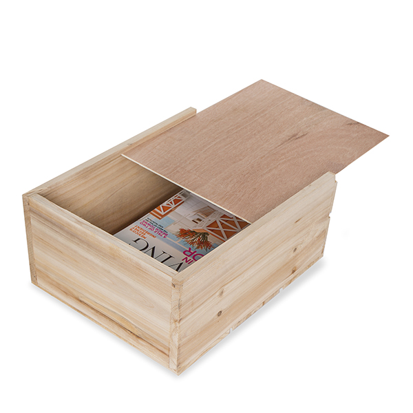 Rect Wood Crate with Slide Top Large - Natural 14in