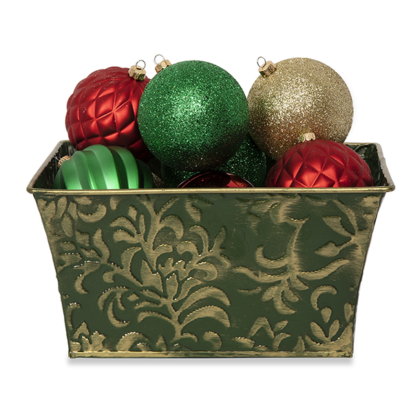 Small Rect Holiday Metal Container Leaf Design 8in