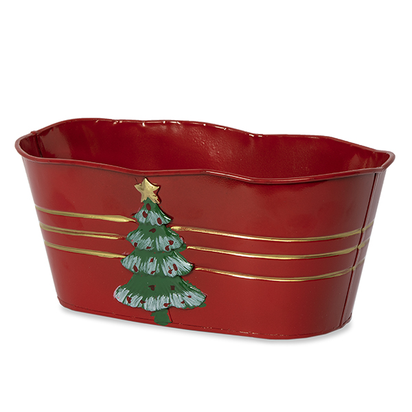 Holiday Tree Oblong Metal Container with Scalloped Rim - Med 10i