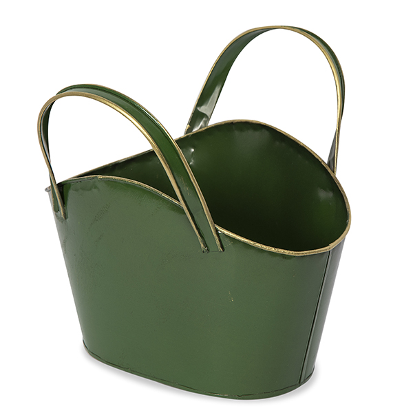Holiday Oval Metal Container with Fixed Handles - 9in