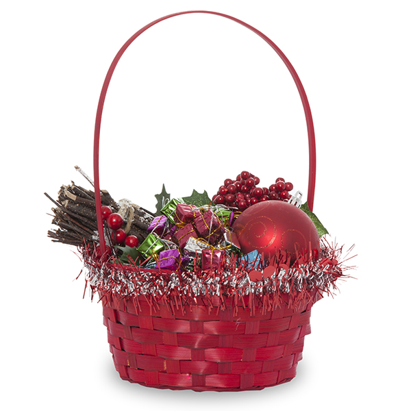 Red Round Bamboo Handle Basket with Red and Silver Garland 7in