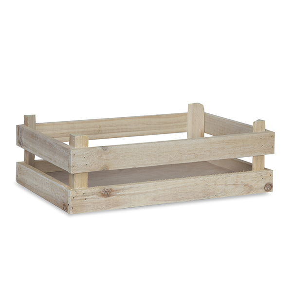 Two Slat Rectangular Wood Crate Natural - 11in