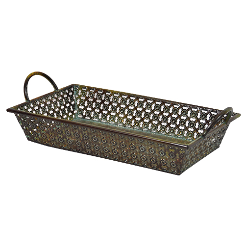 Criss Cross Rect Metal Tray with Side Handles-Antique Green 15in