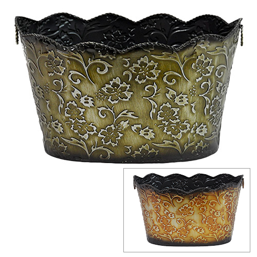 Xavier Raised Floral Oblong Container with Braided Trim 14in