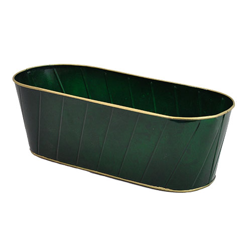 Oblong Metal Container with Gold Trim 15in