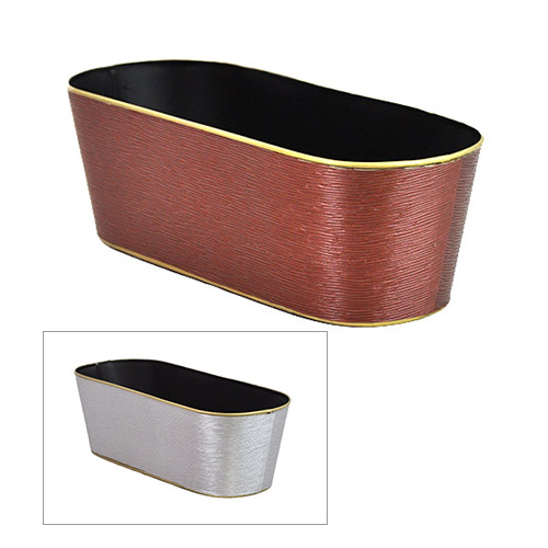 Oblong Metal Container Burgundy with Gold Trim - Textured 15in
