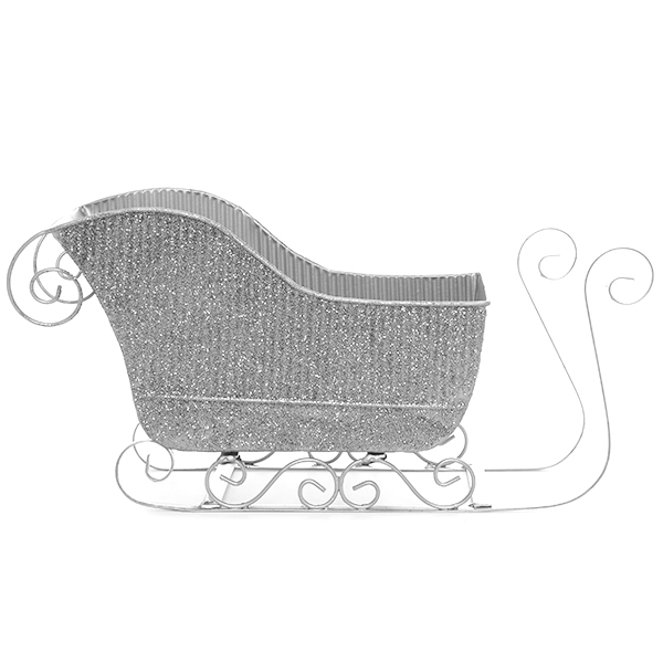 Holiday Silver Sleigh with Glitter - Small 8in