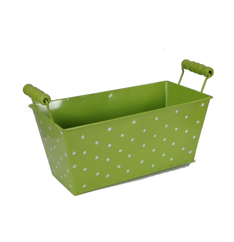 Polka Dot Rectangular with Wood Handle - Green 9in