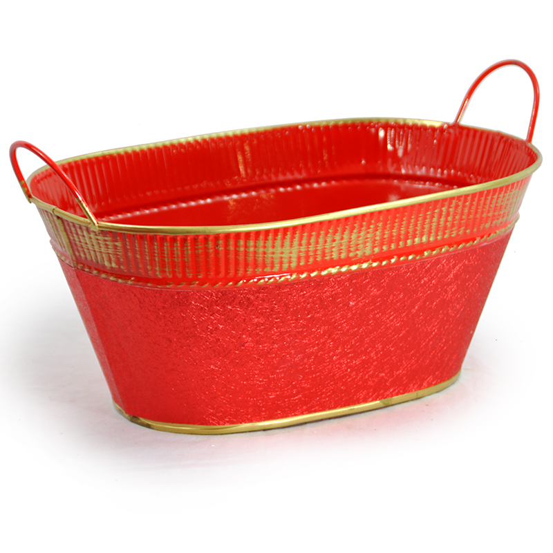 Oval Red Foil and Gold Ribbed Trim with Handles 10in