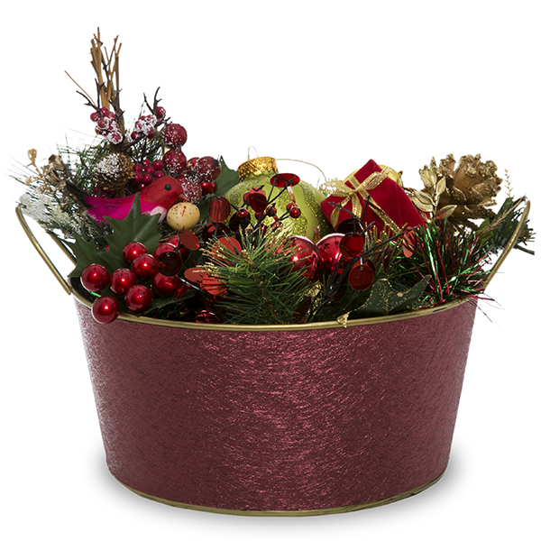Metal Round Foil Basket with Handle - Burgundy 8in