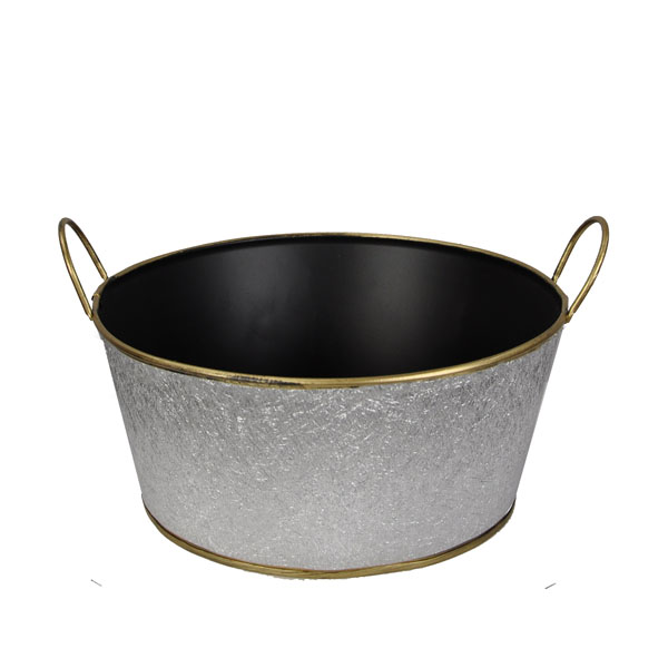 Metal Round Foil Basket with Handle 8in