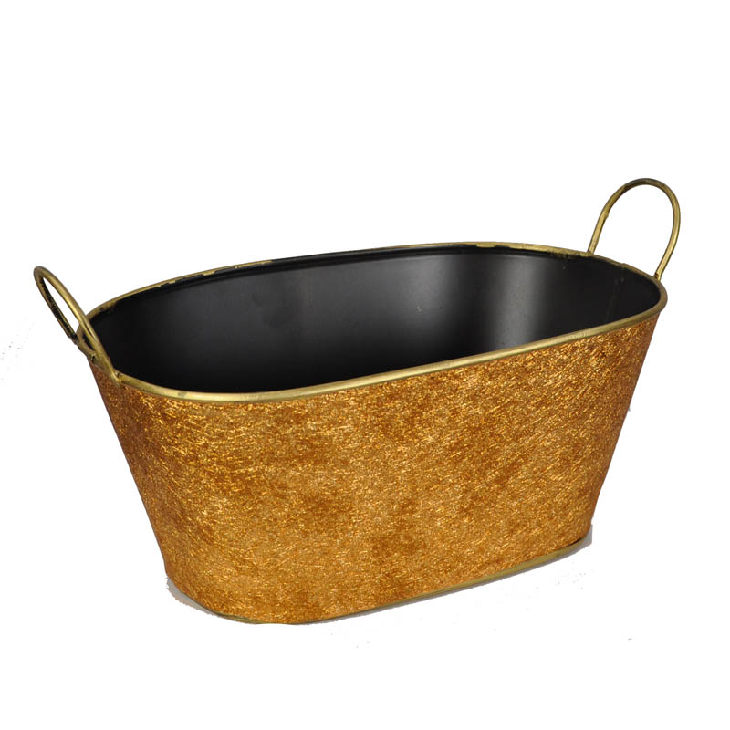 Metal Oblong Foil Basket with Handle 10in