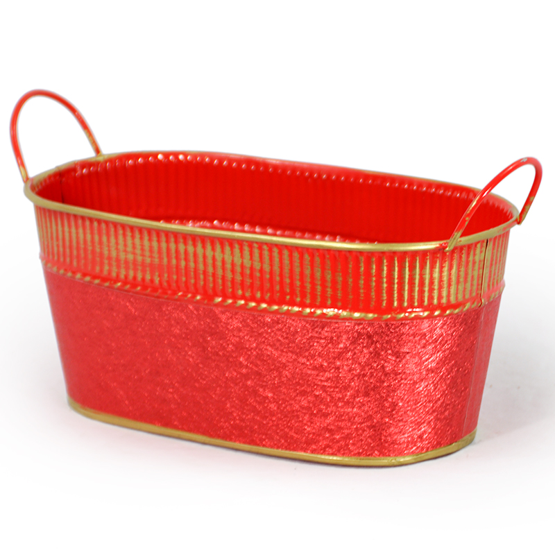 Oblong Red Foil and Gold Ribbed Trim with Handle 10in