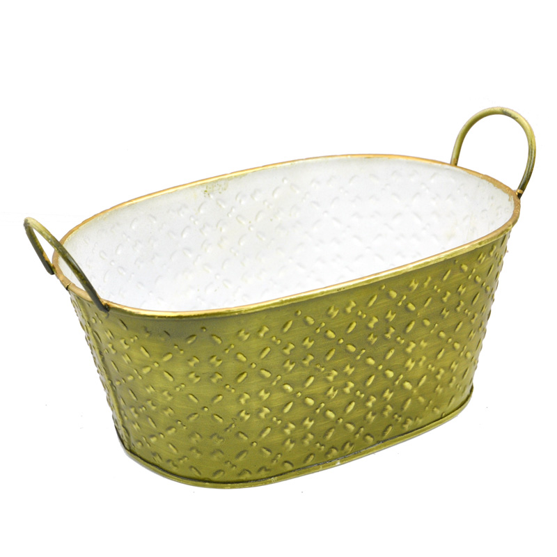 Oblong Textured Braid Metal Container - Olive Green 8in