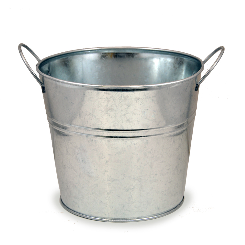Jillian Classic Round Metal Bucket With Side Handles 7in