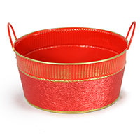 Round Red Foil and Gold Ribbed Trim with Handle