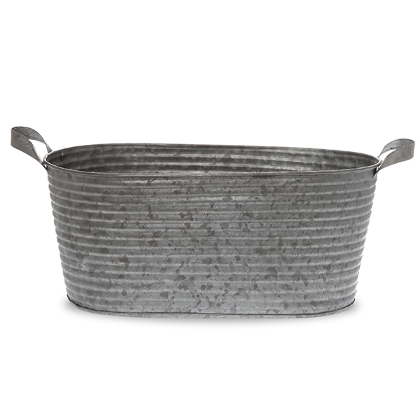 Jillian Long Oblong Galvanized Metal Ridge Container - Lrg 14in