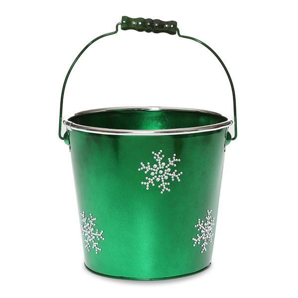 Round Metal Pail Med - Holiday Rhinestone Snowflakes 6in