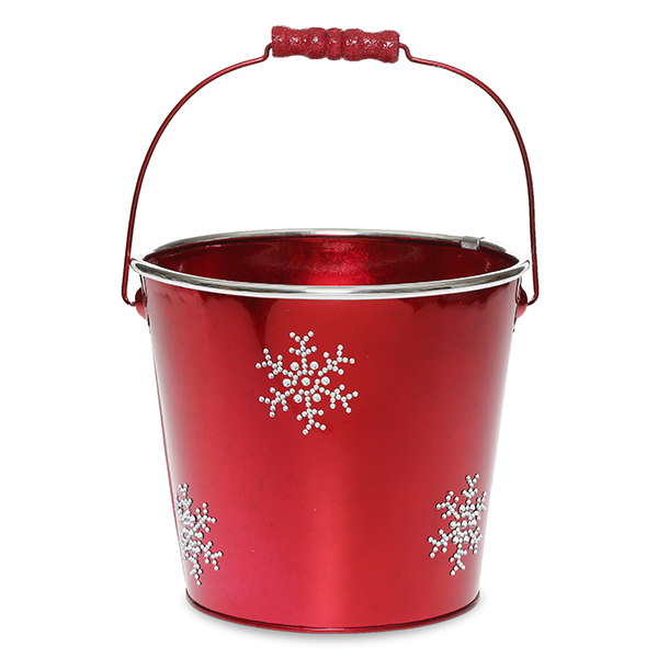 Round Metal Pail Med - Holiday Rhinestone Snowflake 6in