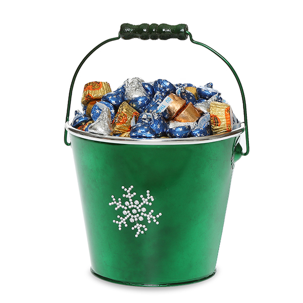 Round Metal Pail Sm- Holiday Rhinestone Snowflakes 5in
