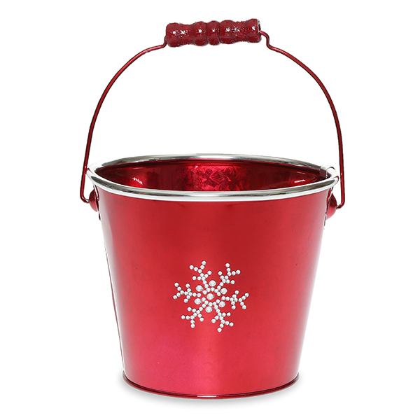 Round Metal Pail Sm- Holiday Rhinestone Snowflakes 6in