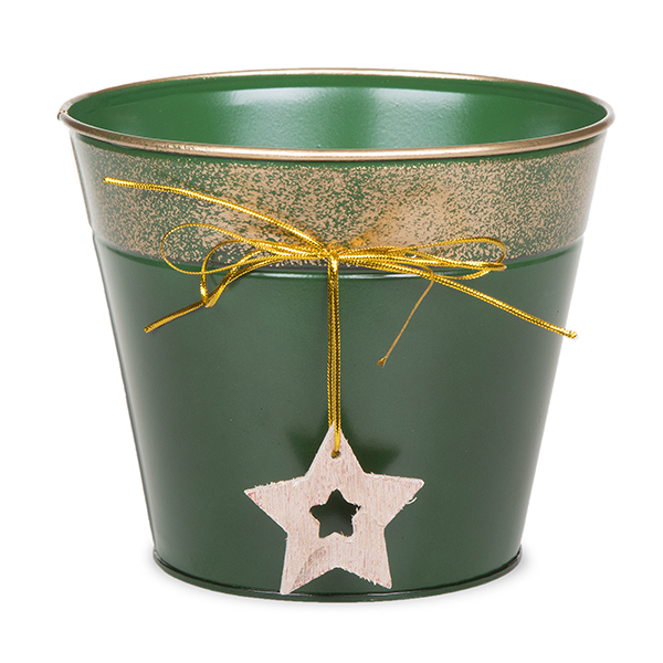 Round Holiday Metal Bucket with Star Ornament - Small 6in