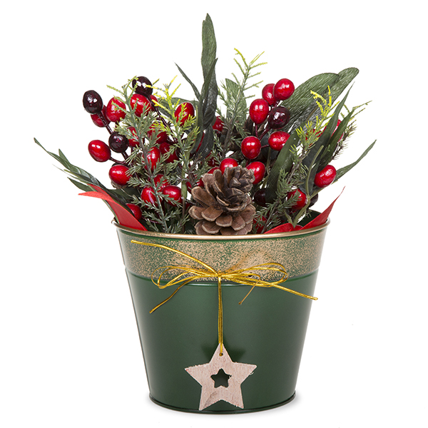 Round holiday metal bucket with star ornament green and for Christmas tin pails