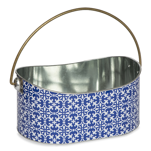 Moroccan Designed Metal Container with Swing Handle 11in