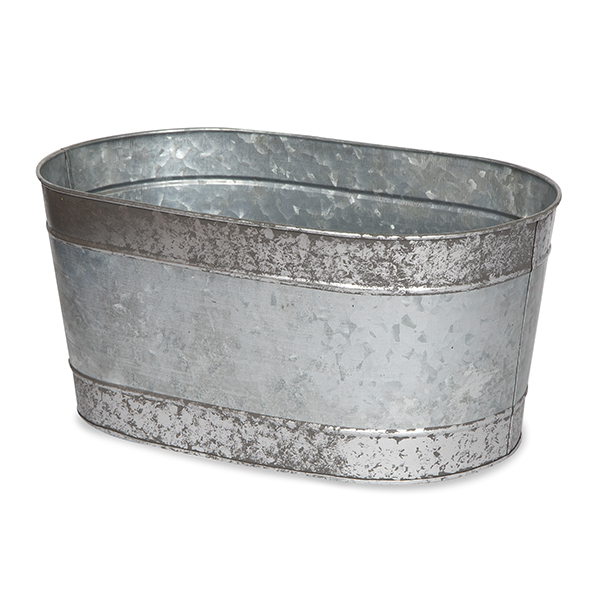 Jillian Oblong Galvanized Metal Container 12in