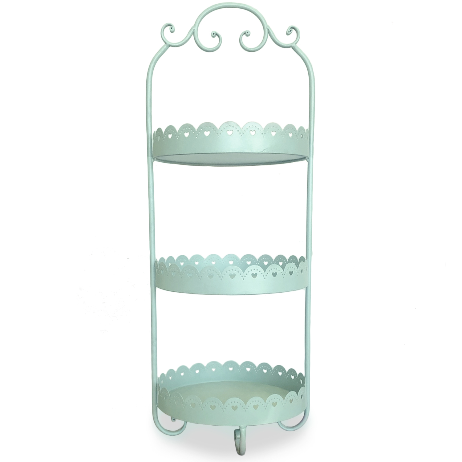 Round Metal Three Tiered Display Stand - Mint Blue