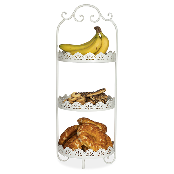 Round Metal Three Tiered Display Stand - White