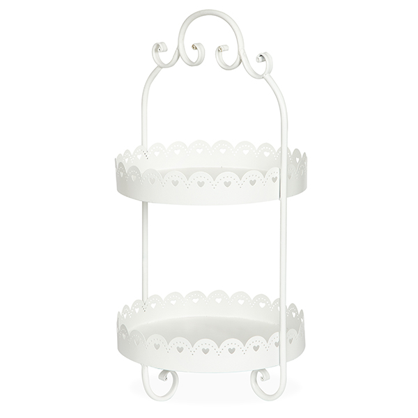 Round Metal Two Tiered Display Stand - White