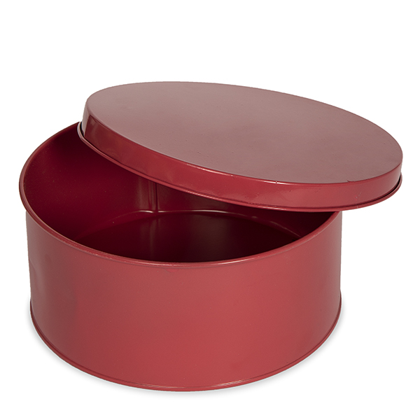Round Metal Container with Lid - Large 8in