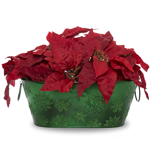 Oblong Holiday Snowflake Metal Container 12in