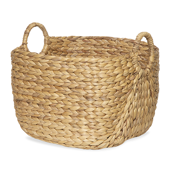 Del Mar Braided Hyacinth Basket with Side Handles - Large 17in