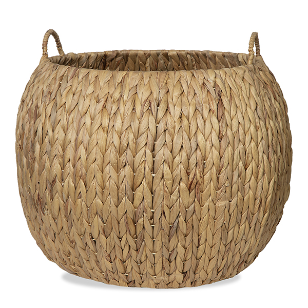 Audrey Natural Hyacinth Storage Basket with Side Handles- 15in