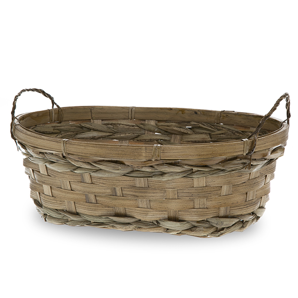 Bamboo Oblong Tray Basket - Brown 11in