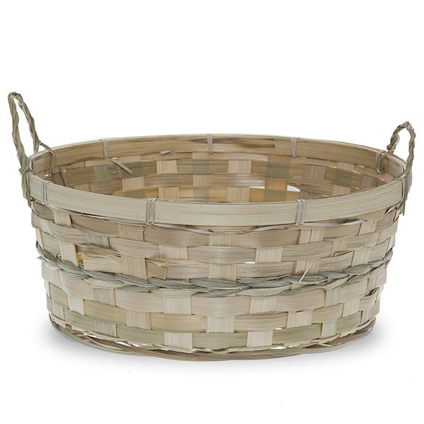 Bamboo Round Tray Basket - Natural 12in