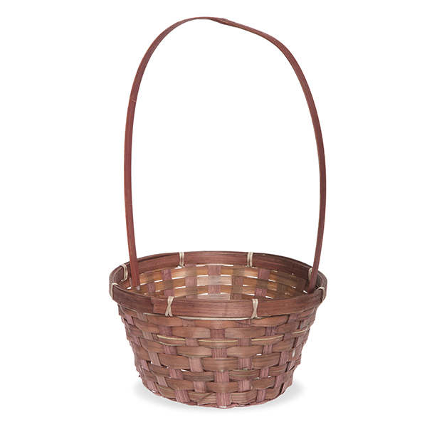 Round Bamboo Tall Fixed Handle Basket 8in