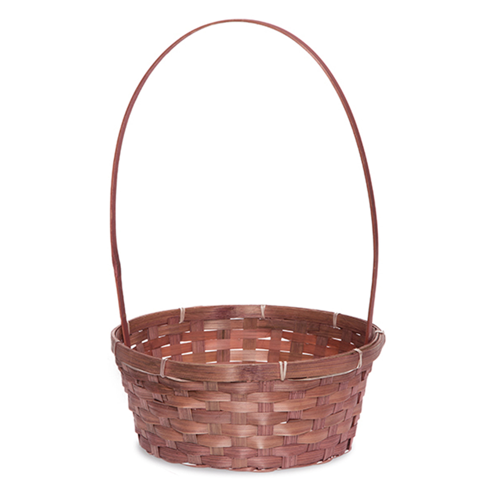 Round Bamboo Tall Fixed Handle Basket Large 10in