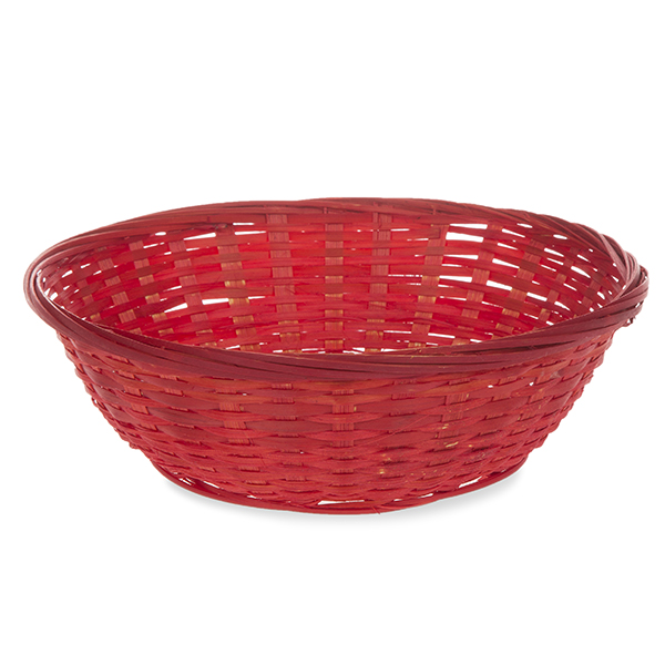Round Bamboo Tray Utility Basket 8in
